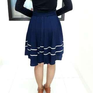 Navy Sailor Midi Skirt