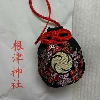 日本根津神社 心願成就 御守 黑色