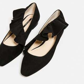 ZARA Black Frilled Ballerina Shoes