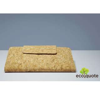 EcoQuote Long Bi Fold Wallet Sq. Button Handmade Cork Material