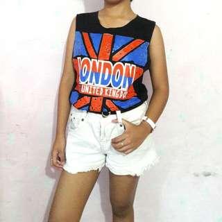 LONDON Black Muscle Tee
