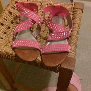 Pink Sandals with rhinestones