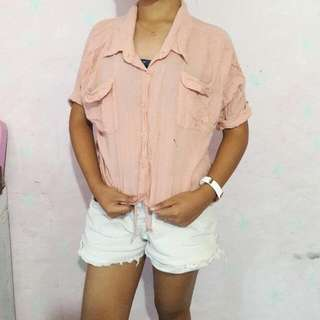 Short-sleeved Button Down Top