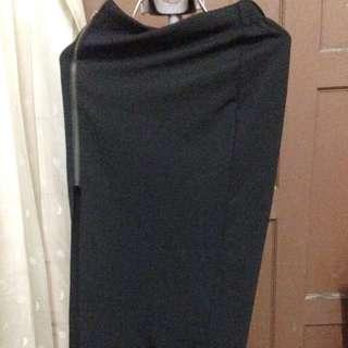 Black Slit Long Skirt