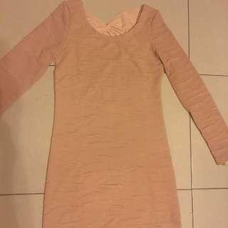 Cream Long Sleeves Dress