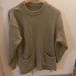 Oversize Vintage Taupe Knit Jumper with Pockets