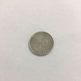 1910 Straits Settlements 20 Cents Coin