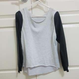 Grey Sweatshirt With Leather Sleeves