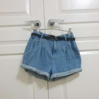 High Waisted Baggy DENIM Shorts With Belt