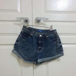 High Waisted Acid Washed DENIM Shorts