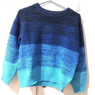 GU 藍色 漸層 毛衣