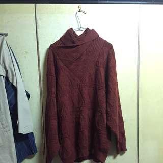 鐵鏽色高領毛衣