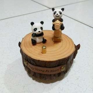 森遊趣 熊貓騎木馬 旋轉音樂盒