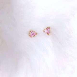 皇冠滾邊粉色三角耳環