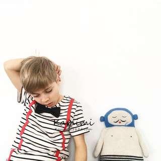 兒童男女童條紋領結造型吊帶t恤