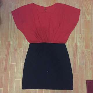 Dress Two Tone Red And Black