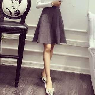 灰色氣質中長裙