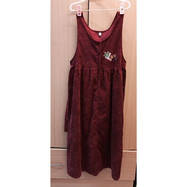 燈芯絨吊帶裙