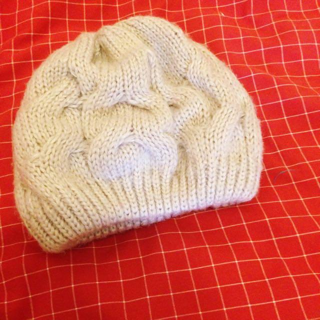 日系杏色針織暖暖圓毛帽