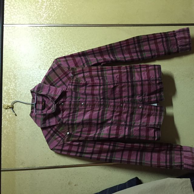 粉紫紅格子襯衫