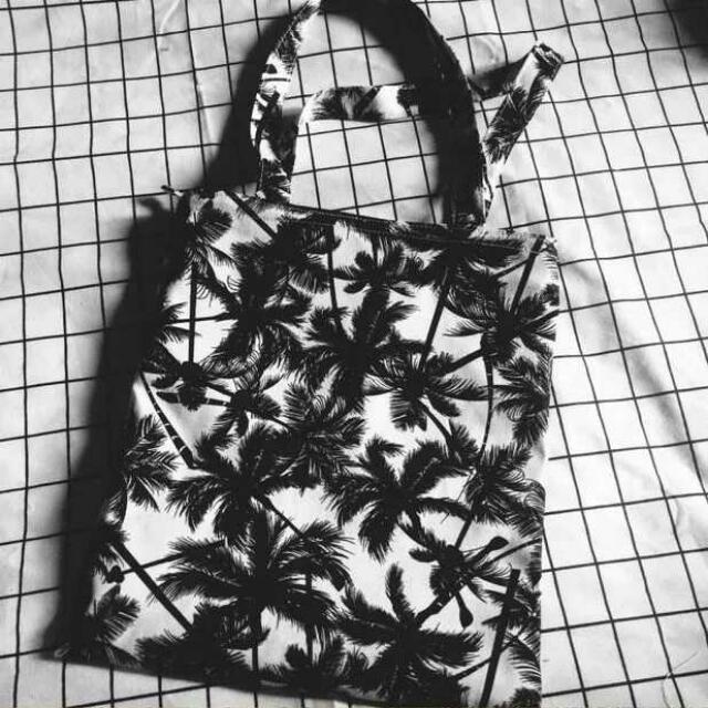 椰子樹手提包 有拉鏈