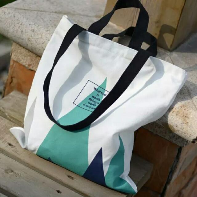 三角幾何手提袋購物袋 有拉鏈