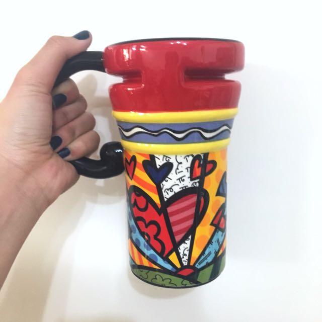 抽象插畫塗鴉陶瓷杯 附蓋子