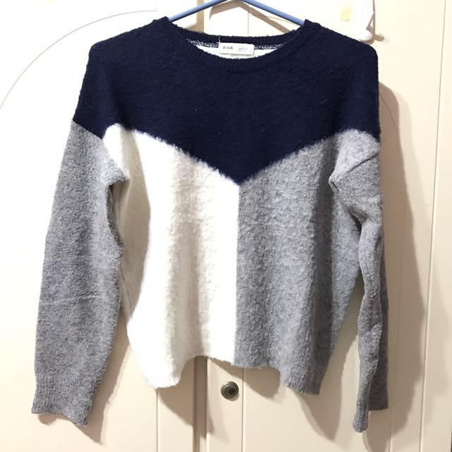 韓版 藍灰白 毛衣