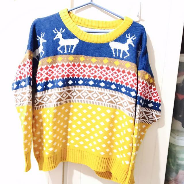聖誕麋鹿風格 黃藍色 毛衣
