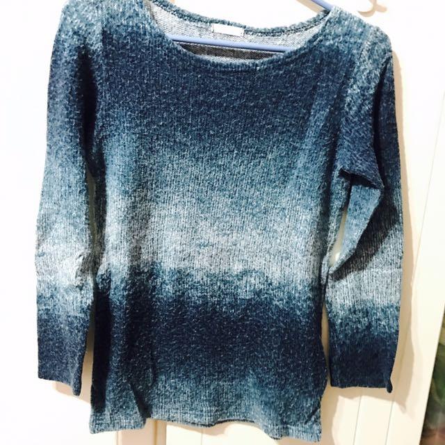 韓版 藍綠色 漸層 毛衣