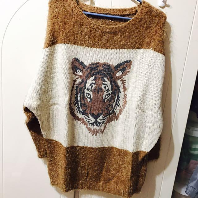 韓版 老虎 駝色 土黃 毛衣