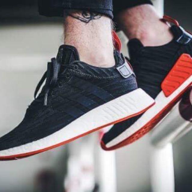 Adidas 愛迪達代購 NMD_R2 PRIMEKNIT 白/紅鞋/黑 黑有現貨 BA7253/BA7252