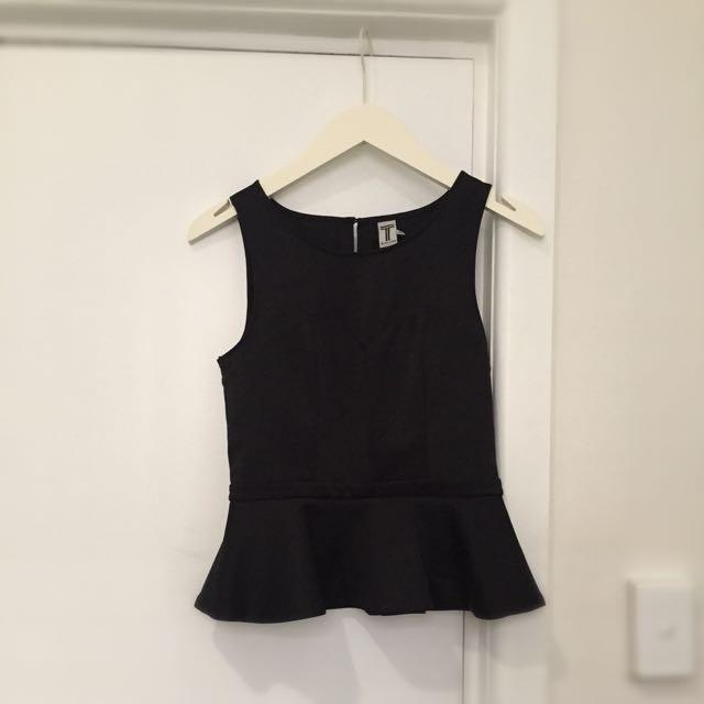 Bettina Liano Peplum Black Top Size 8