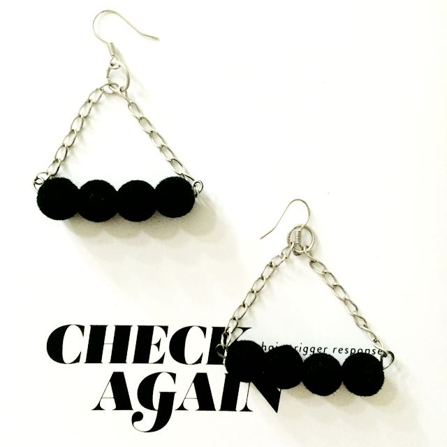 Black Beads Trendy Earring