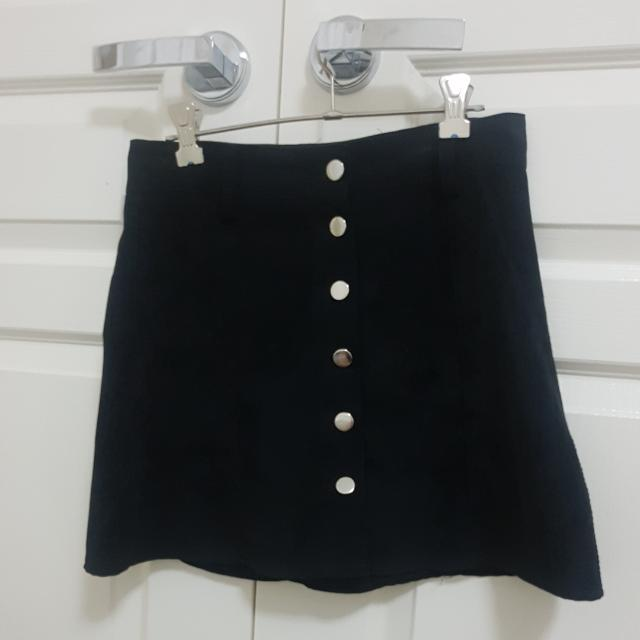 BLACK BUTTON UP SKIRT _ PRINCESS POLLY