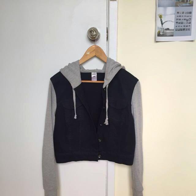 Black Denim Hooded Jacket