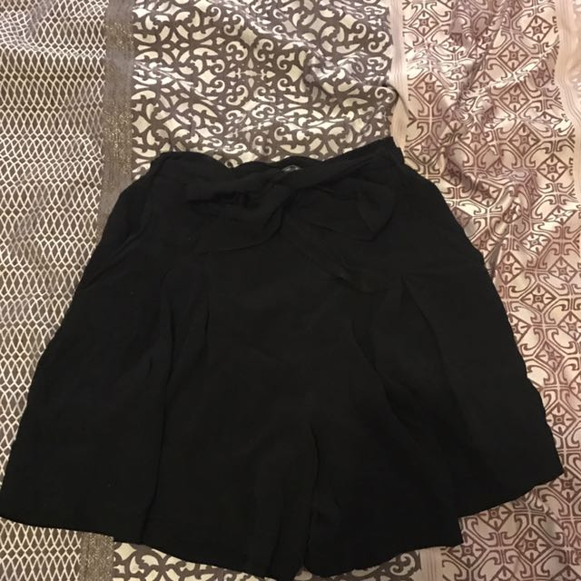 Black High Waisted Shorts With Tie