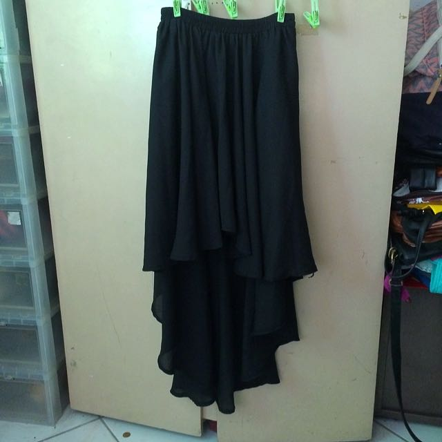 Black Layered Flowing Skirt