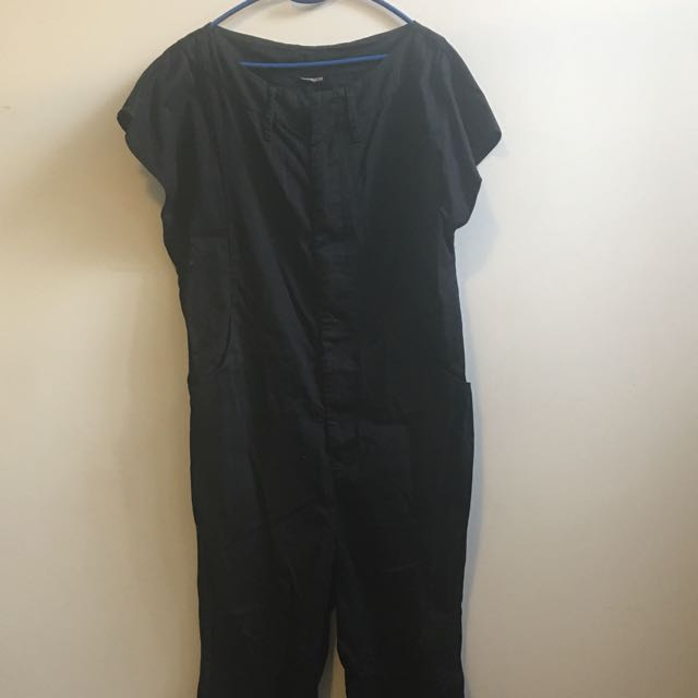 Black Painters Overalls, Loose Fit Calf Length Jumpsuit - Size 10