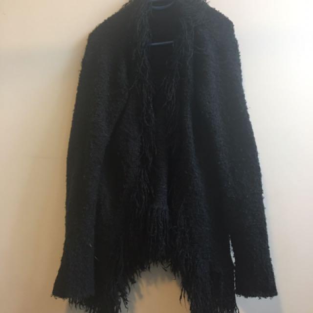 Black Wool Jacket Furry 90s Lapels - Size 12
