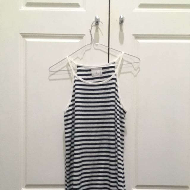 Blue And White Stripe Singlet Top Cami