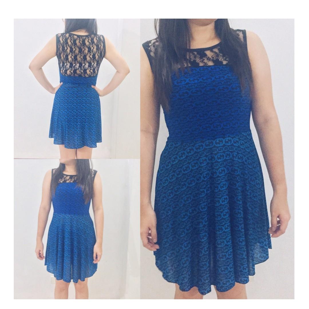 aab8ab45c664 Blue blouson shift dress
