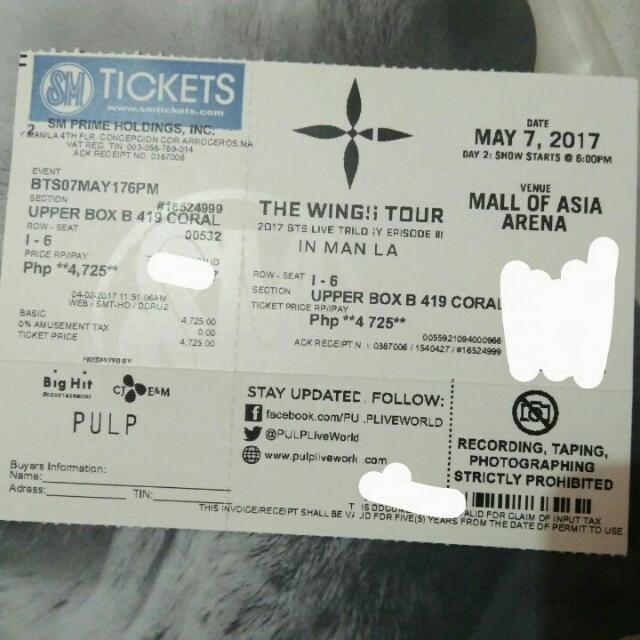 BTS wings Tour Upperbox Ticket