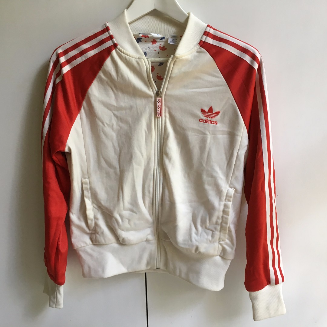 Classic Adidas Zip Jacket Womens Size 14 Cream & Red Used in good condition