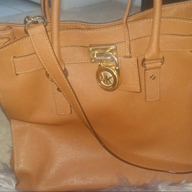 Cognac Michael Kors Large Hamilton Bag