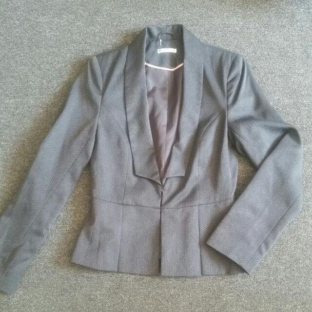 Dark Grey Spotted Suit jacket/blazer Size 8 From Target