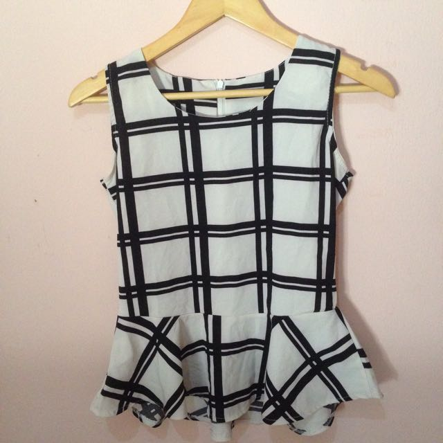 Dress Top Crop Black And White