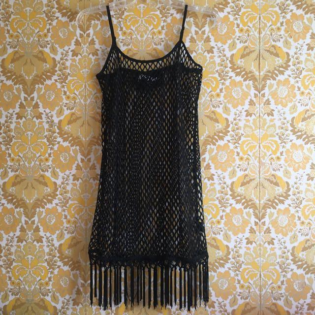 Fishnet Tassel Dress