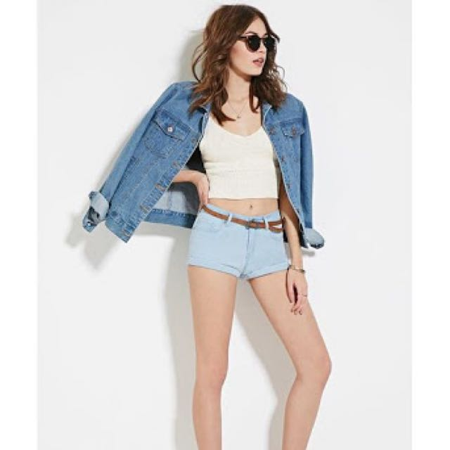 Forever21 Super Low Rise Denim Shorts In Blue