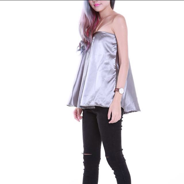 [Free Postage] Grey Satin Spagetti Top